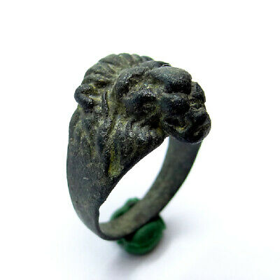 Roman Ancient Artifact Bronze Gladiator Ring With Lion