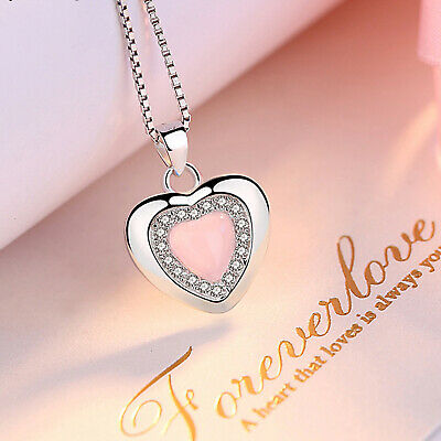 REAL SOLID SILVER 925 Classic Sterling Silver Necklace & Pendant Heart-065