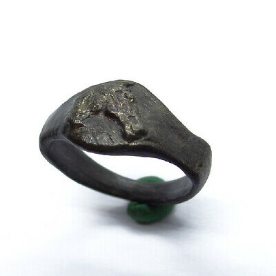 Viking Ancient Artifact Bronze Ring With Two Horse
