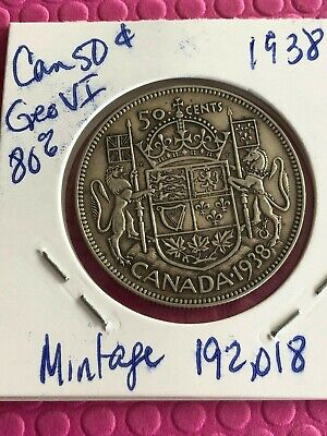 1938 Canada 50 Fifty Cents Half Dollar **LOW MINTAGE** Better date 80% SILVER