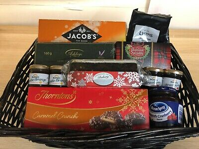 Christmas Food Gift Hamper In Basket Gift Wrapped Ideal Gift Lots Of Goodies