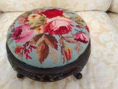 Vintage Small Foot Stool With Floral Embroidered Tapestry