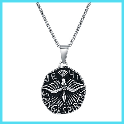 Men's Eagle Pendant Necklace Punk Round Spirit Necklace Stainless Steel Chain