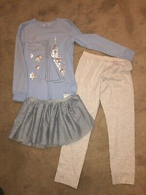 Bnwt 3 Piece Frozen Pyjama Set From M&S Age 8 -  9 Years