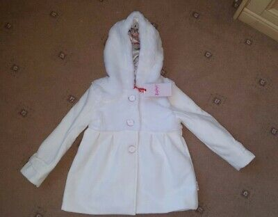 Bnwt Ted Baker Off White Faux Fur Coat Jacket Age 3-4 Years