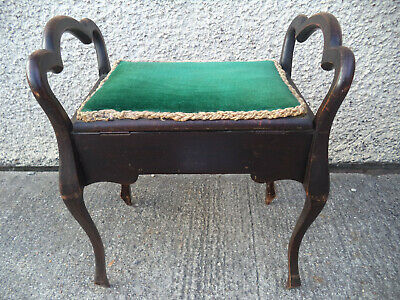 Antique Piano Stool With Under Seat Storage