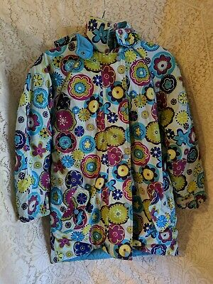 Girls Hanna Andersson Coat Size 140 Blue Flowers