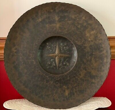"ANTIQUE ARTS & CRAFTS HAMMERED COPPER 18"" CHARGER Berries & Leaves COMPASS ROSE"