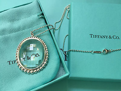 Tiffany & Co. Ziegfeld Collection Oval Rock Crystal PDT Sterling Silver Necklace