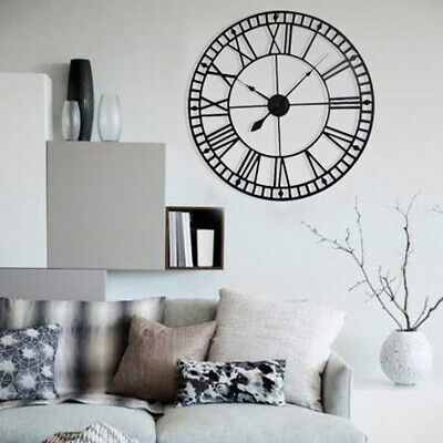 Large Outdoor Garden Wall Clock Big Roman Numerals Giant Round Open Face Metal