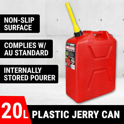 20L Plastic Jerry Can W/ Pour Spout Fuel Container Spare Petrol Tank Red Storage