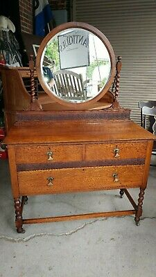 Antique Oak Vanity Dresser w/ Mirror - Hand Carved - Beautiful