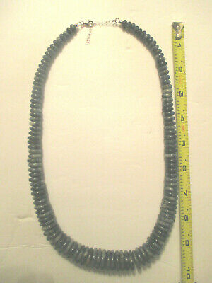 VINTAGE (FAS) STERLING SILVER Lapis Lazuli Graduated & Faceted Bead  Necklace