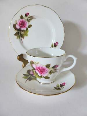 Vintage 1950's Duchess Bone China Trio, Pink Roses Tea Cup, Saucer & Cake Plate