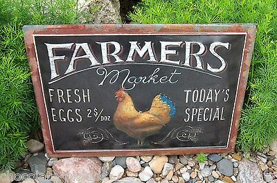 Chicken Rooster Egg Wall SIGN*Primitive/French Country Kitchen/Farmhouse Decor