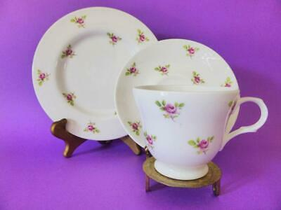 Crown Trent Pink Roses Bone China Trio, Vintage Tea Cup / Saucer / Plate, 1950's