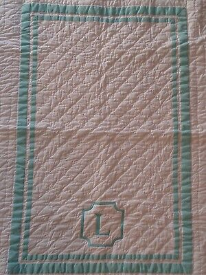 "New Pottery Barn Harper Aqua Monogram ""L"" Nursery Crib Quilt & Crib Skirt"