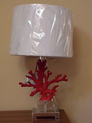 New Broyhill Red Coral Lucite Nautical Beach Table Lamp & Shade