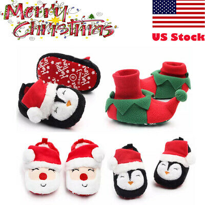 Newborn Baby Girls Kids Santa Shoes Slippers Costume First Christmas Size 0-18M