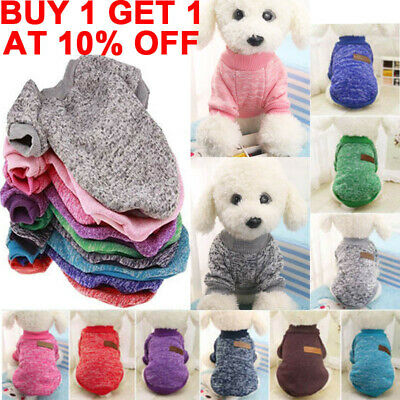Pet Clothes Knitted Puppy Dog Jumper Sweater Warm For Small Dogs Coat Cat UK ~~
