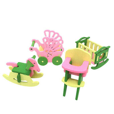 Baby Wooden Dollhouse Furniture Dolls House Miniature Child Play Toys Gifts W3L8