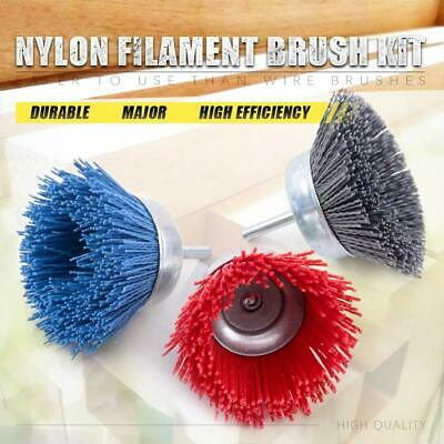 """3Pc 3"""" Nylon Wire Cup Brush Buffing Wheel Set With 6mm Shank For Metal Polishing"""