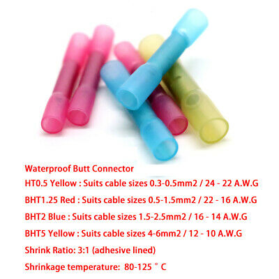 Waterproof Butt Connector Cable Terminals Heat Shrink Seamless Joiner 4 Colours