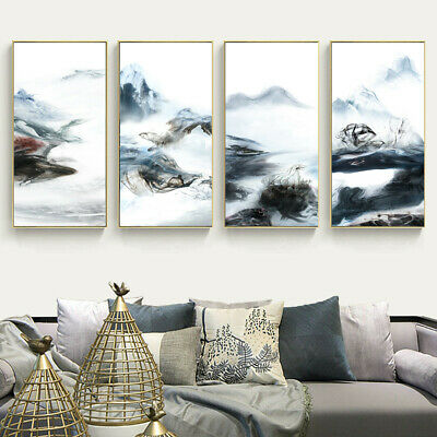 Abstract Blue Smoke Fog Canvas Poster Art Unframed Picture Wall Home Decor Gifts
