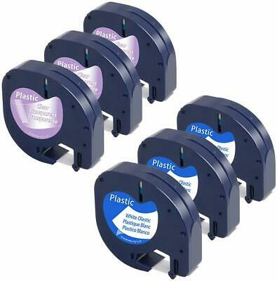 Dymo6X 91201 12267 Plastic Tape Cartridge Compatible LetraTag Label Maker 12mm