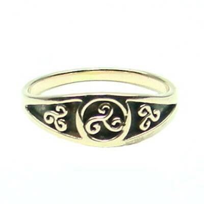 Celtic Triskele Ring Bronze Symbol Folklore Jewelry - New