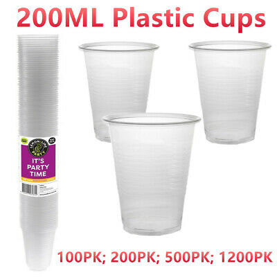 Clear 200ML Plastic Party Cups BPA Free Disposable Drinking Glass Catering Camp
