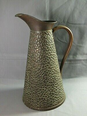 "J.S & S Joseph Sankey Arts & Crafts Copper Lizard Skin Jug - 11"" high"