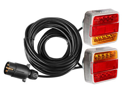 Pre wired Magnetic Trailer Agriculture Rear Towing LED Lights Lamps 7.5m Cable