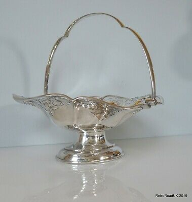 Antique Silver Plated Fruit or Flower Basket, Reticulated Boarder Swing Handle