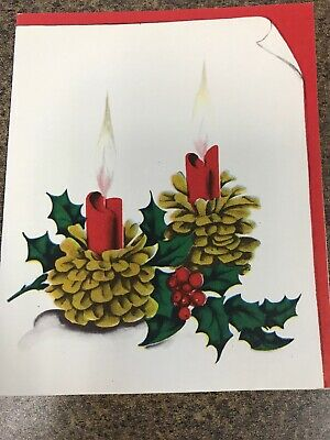 Vintage Christmas Card Art Deco Norcross Pine Cone Candle Holders Flame Red