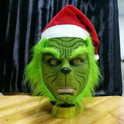 Cosplay The Grinch Full Head Latex Mask Wig And Xmas Hat Monster Adult Costume