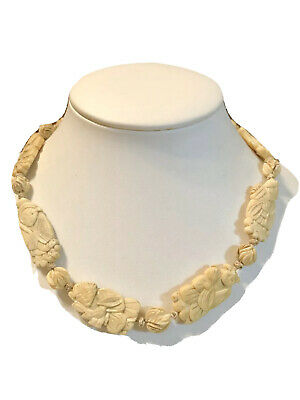 """Vintage Antique Highly Hand Carved Asian Japanese Figural RARE 17"""" Necklace"""