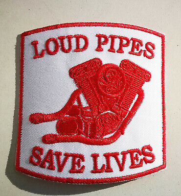 Patch Loud Pipes Save Lives Red & White Evolution Motor Vintage Aufnäher Harley