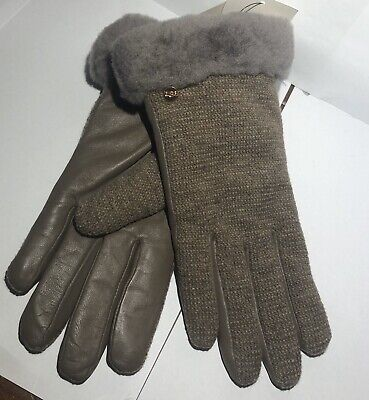 UGG Shorty TECH GLOVES Shearling Cuff $75 TECH Wool Leather STORMY GREY M 17428