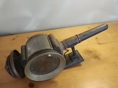 Antique Brass & Beveled Glass Oil Carriage Coach Side Lamp converted electric