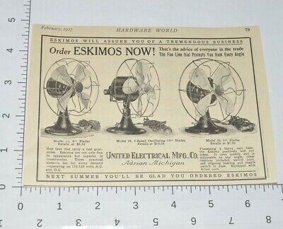Eskimo Fans United Electric Adrian Mich 1927 Advertising 1920s Vintage Print Ad