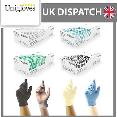 100 Disposable Powder Free Vinyl - Latex - Nitrile Gloves - Clear Blue Black