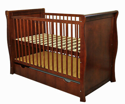 Baby Cot /Baby Bed With Drawer/Junior Bed Sara Ii Chocolate + Mattress