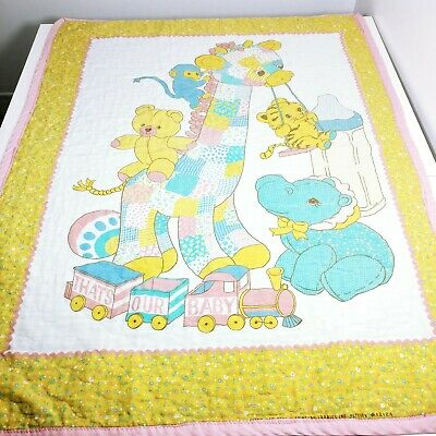 Vintage THATS OUR BABY Quilted Blanket Yellow Gingham Crib Quilt Animals Toys GC