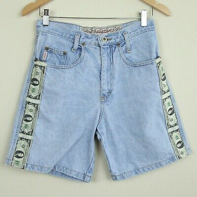 "Vintage 90s Jean Shorts High Rise Money 100 $ Bill Stripe Fabric Novelty 28"" W"