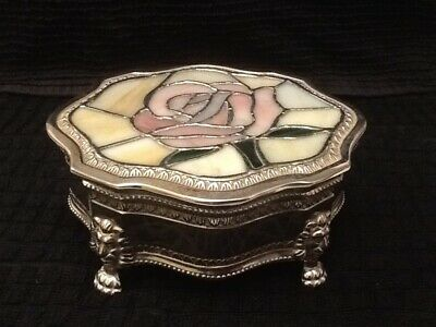 Silver Plate (Unmarked)And Opaque Glass Top Trinket Box.