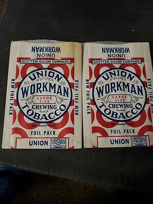 Free Sample Bags Unused Empty 3 Union Workman Chewing Tobacco Scotten Dillon Co