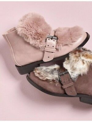 New🌹Next🌹Size 7 Girls,Ladies Pink Faux Fur Buckle Boots Winter Warm Day Wear