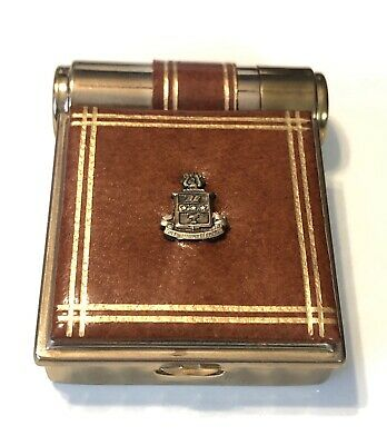 VTG Gold Tone Gilded Leather Majestic USA Mirror Compact And Lipstick Holder