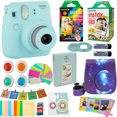 Fujifilm Instax Mini 9 Instant Camera Blue + 30 Fuji Film +Top Accessory Bundle